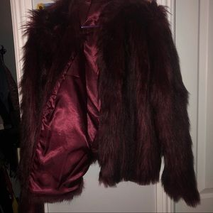 Forever 21 Jackets & Coats - Forever 21 Burgundy Faux Fur Coat Plus Size